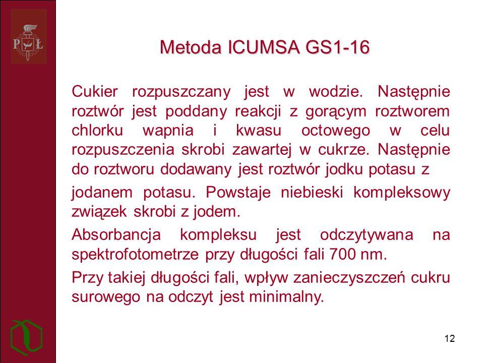 12 Metoda ICUMSA GS1-16 Cukier rozpuszczany jest w wodzie.