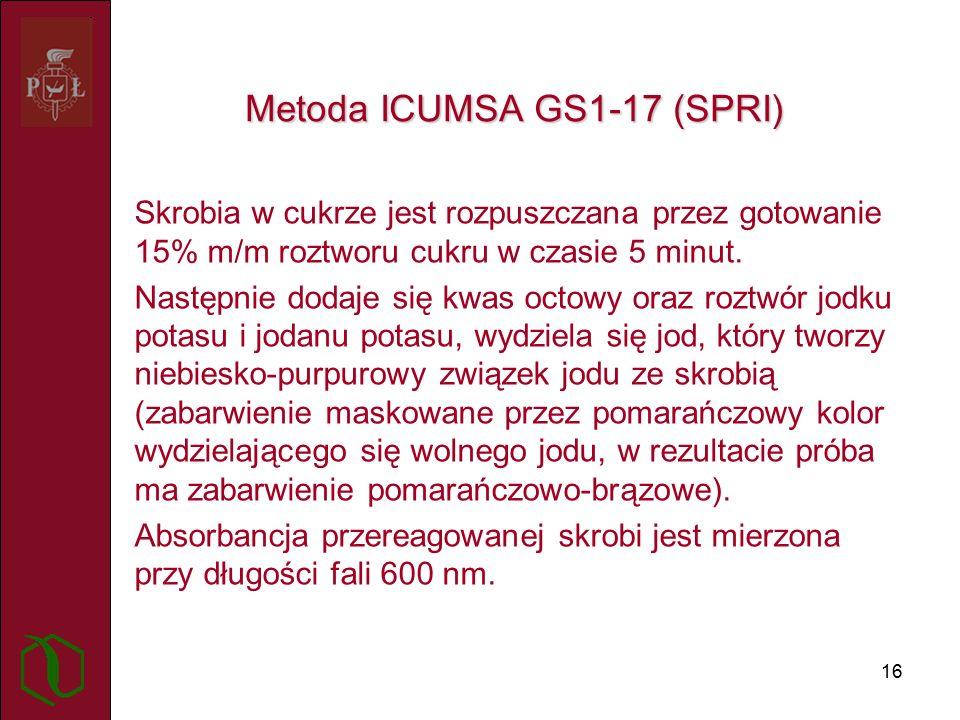 16 Metoda ICUMSA GS1-17 (SPRI) Skrobia w cukrze jest rozpuszczana przez gotowanie 15% m/m roztworu cukru w czasie 5 minut.
