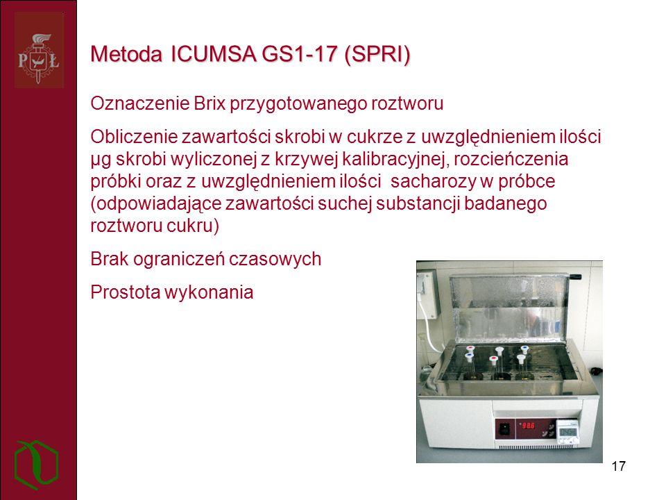 17 Metoda ICUMSA GS1-17 (SPRI) Oznaczenie Brix przygotowanego roztworu Obliczenie zawartości skrobi w cukrze z uwzględnieniem ilości µg skrobi wyliczonej z krzywej kalibracyjnej, rozcieńczenia próbki oraz z uwzględnieniem ilości sacharozy w próbce (odpowiadające zawartości suchej substancji badanego roztworu cukru) Brak ograniczeń czasowych Prostota wykonania