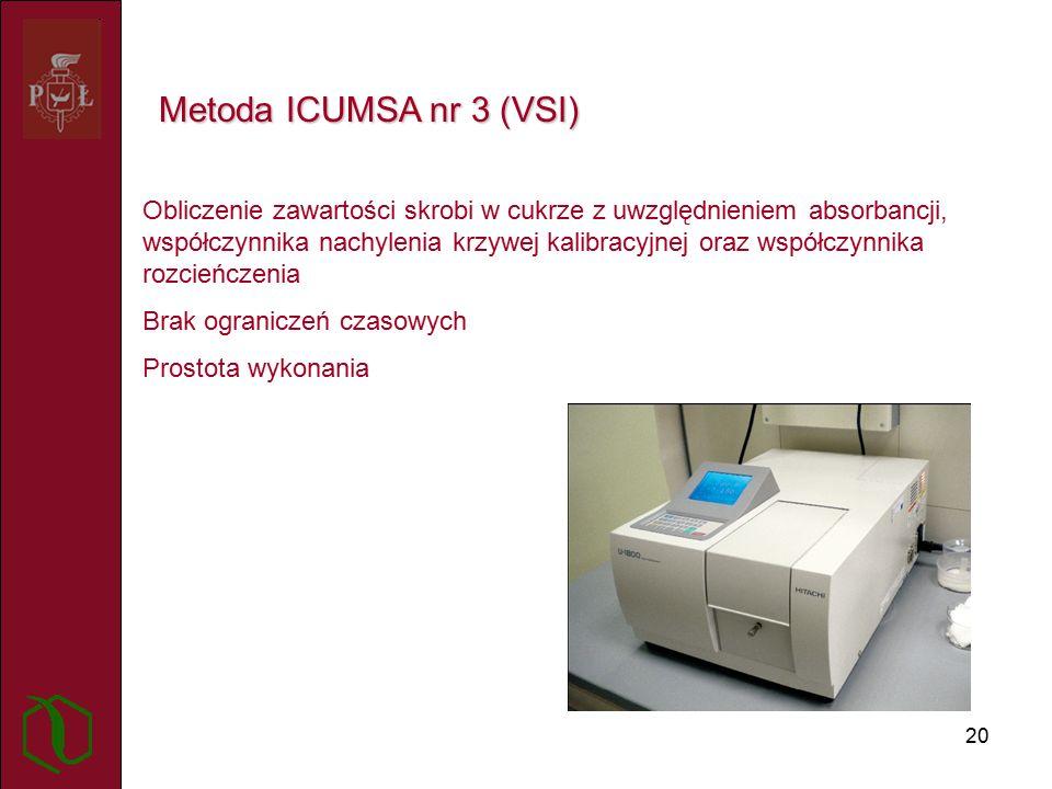 20 Metoda ICUMSA nr 3 (VSI) Obliczenie zawartości skrobi w cukrze z uwzględnieniem absorbancji, współczynnika nachylenia krzywej kalibracyjnej oraz współczynnika rozcieńczenia Brak ograniczeń czasowych Prostota wykonania