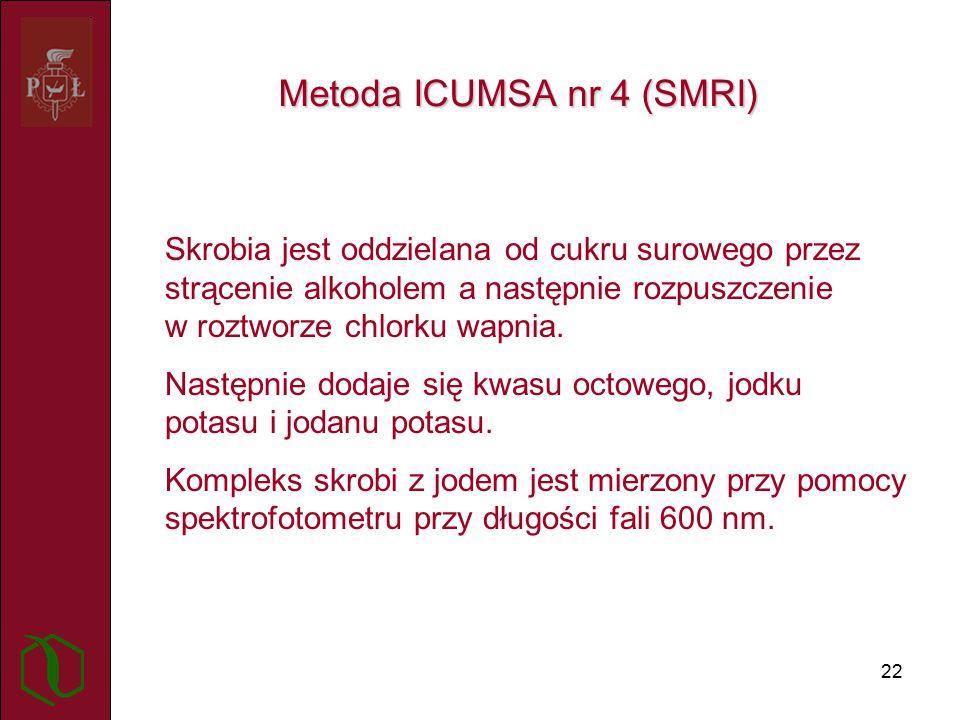 22 Metoda ICUMSA nr 4 (SMRI) Skrobia jest oddzielana od cukru surowego przez strącenie alkoholem a następnie rozpuszczenie w roztworze chlorku wapnia.