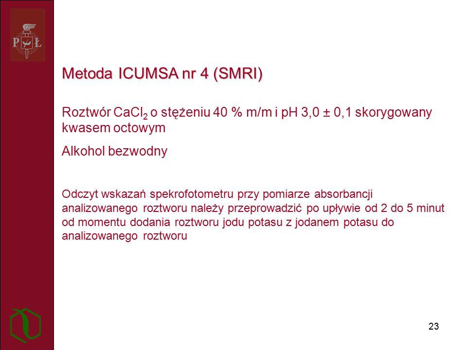 23 Metoda ICUMSA nr 4 (SMRI) Roztwór CaCl 2 o stężeniu 40 % m/m i pH 3,0 ± 0,1 skorygowany kwasem octowym Alkohol bezwodny Odczyt wskazań spekrofotometru przy pomiarze absorbancji analizowanego roztworu należy przeprowadzić po upływie od 2 do 5 minut od momentu dodania roztworu jodu potasu z jodanem potasu do analizowanego roztworu