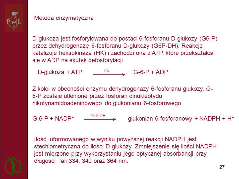 27 Metoda enzymatyczna D-glukoza jest fosforylowana do postaci 6-fosforanu D-glukozy (G6-P) przez dehydrogenazę 6-fosforanu D-glukozy (G6P-DH).