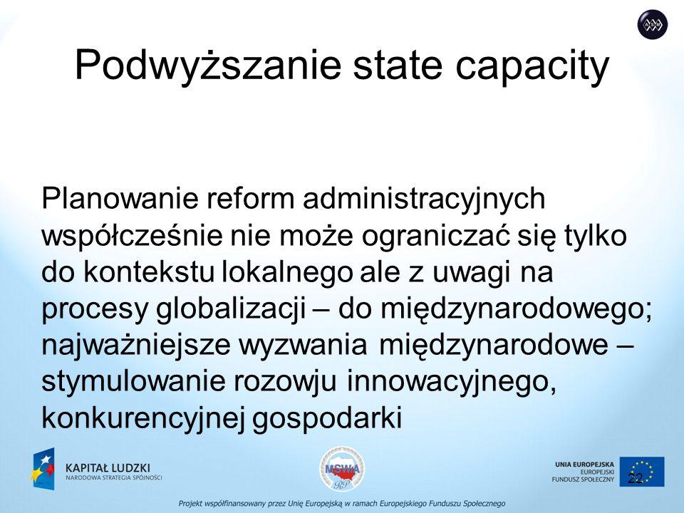 22 Podwyższanie state capacity Planowanie reform administracyjnych współcześnie nie może ograniczać się tylko do kontekstu lokalnego ale z uwagi na procesy globalizacji – do międzynarodowego; najważniejsze wyzwania międzynarodowe – stymulowanie rozowju innowacyjnego, konkurencyjnej gospodarki