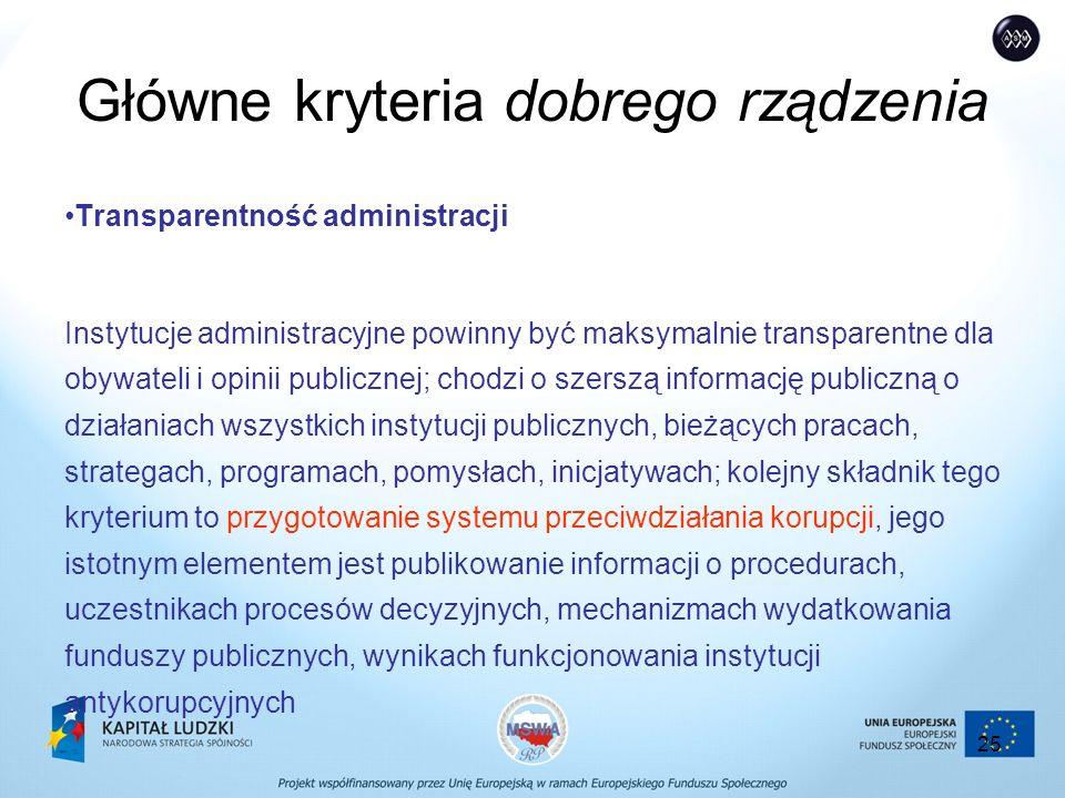 25 Główne kryteria dobrego rządzenia Transparentność administracji Instytucje administracyjne powinny być maksymalnie transparentne dla obywateli i opinii publicznej; chodzi o szerszą informację publiczną o działaniach wszystkich instytucji publicznych, bieżących pracach, strategach, programach, pomysłach, inicjatywach; kolejny składnik tego kryterium to przygotowanie systemu przeciwdziałania korupcji, jego istotnym elementem jest publikowanie informacji o procedurach, uczestnikach procesów decyzyjnych, mechanizmach wydatkowania funduszy publicznych, wynikach funkcjonowania instytucji antykorupcyjnych