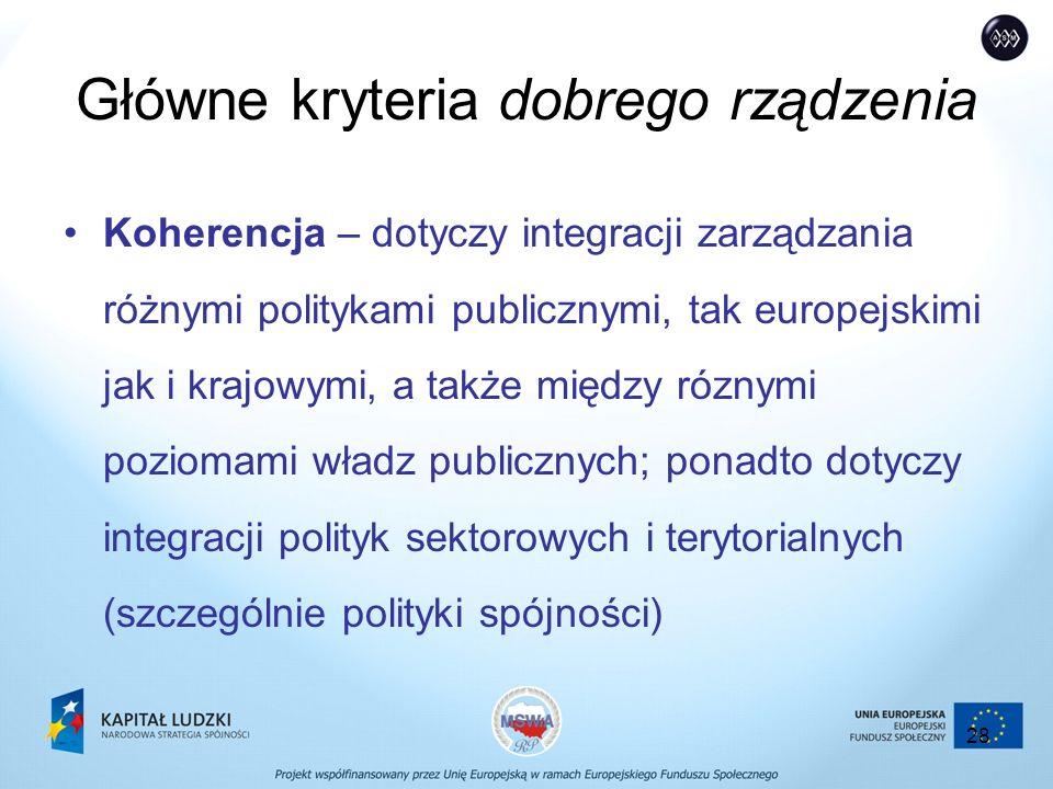 28 Główne kryteria dobrego rządzenia Koherencja – dotyczy integracji zarządzania różnymi politykami publicznymi, tak europejskimi jak i krajowymi, a także między róznymi poziomami władz publicznych; ponadto dotyczy integracji polityk sektorowych i terytorialnych (szczególnie polityki spójności)