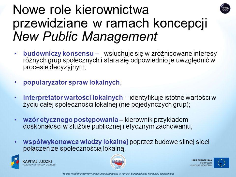 7 Nowe role kierownictwa przewidziane w ramach koncepcji New Public Management budowniczy konsensu – wsłuchuje się w zróżnicowane interesy różnych grup społecznych i stara się odpowiednio je uwzględnić w procesie decyzyjnym; popularyzator spraw lokalnych; interpretator wartości lokalnych – identyfikuje istotne wartości w życiu całej społeczności lokalnej (nie pojedynczych grup); wzór etycznego postępowania – kierownik przykładem doskonałości w służbie publicznej i etycznym zachowaniu; współwykonawca władzy lokalnej poprzez budowę silnej sieci połączeń ze społecznością lokalną.