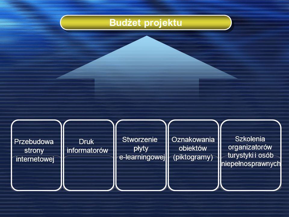 Budżet projektu Przebudowa strony internetowej Druk informatorów Stworzenie płyty e-learningowej Oznakowania obiektów (piktogramy) Szkolenia organizatorów turystyki i osób niepełnosprawnych