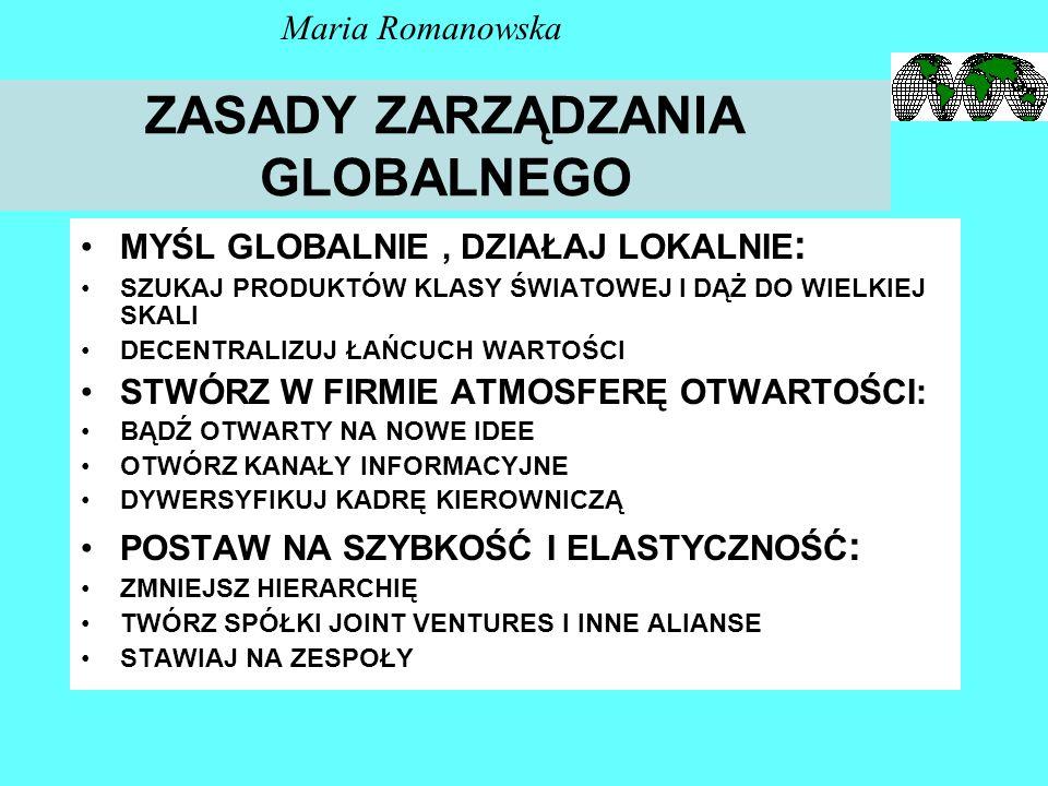 Dynamika potencjału globalizacyjnego sektorów X, Y, Z Sektor X Sektor Y Sektor Z 0 % 100 % Potencjał globaliza- cyjny Maria Romanowska