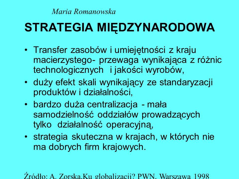 STRATEGIE PONADNARODOWE Koncentracja na lokalnych dostosowaniach Koncentracja na kosztach Maria Romanowska Źródło: A.