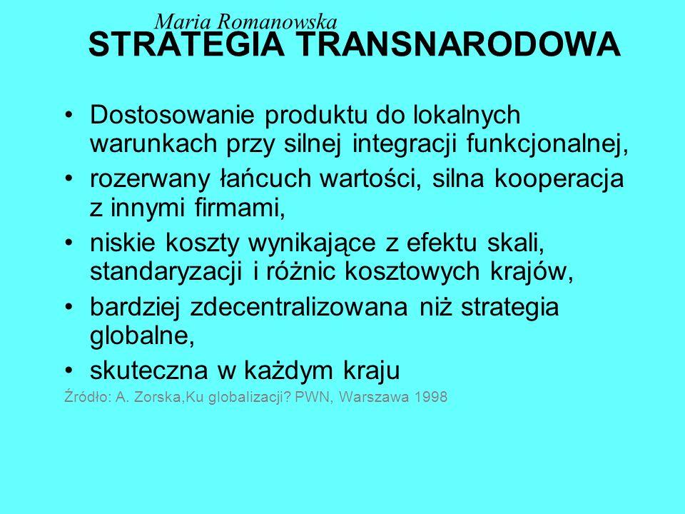 STRATEGIA WIELONARODOWA (MULTILOKALNA) Transfer zasobów i umiejętności do filii, duża samodzielność filii, pełny łańcuch wartości w każdym kraju, siln