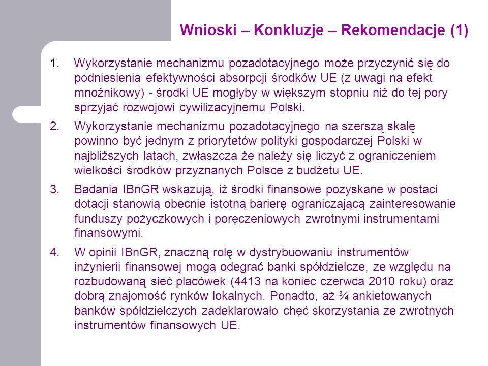 Wnioski – Konkluzje – Rekomendacje (1) 1. Wykorzystanie mechanizmu pozadotacyjnego może przyczynić się do podniesienia efektywności absorpcji środków