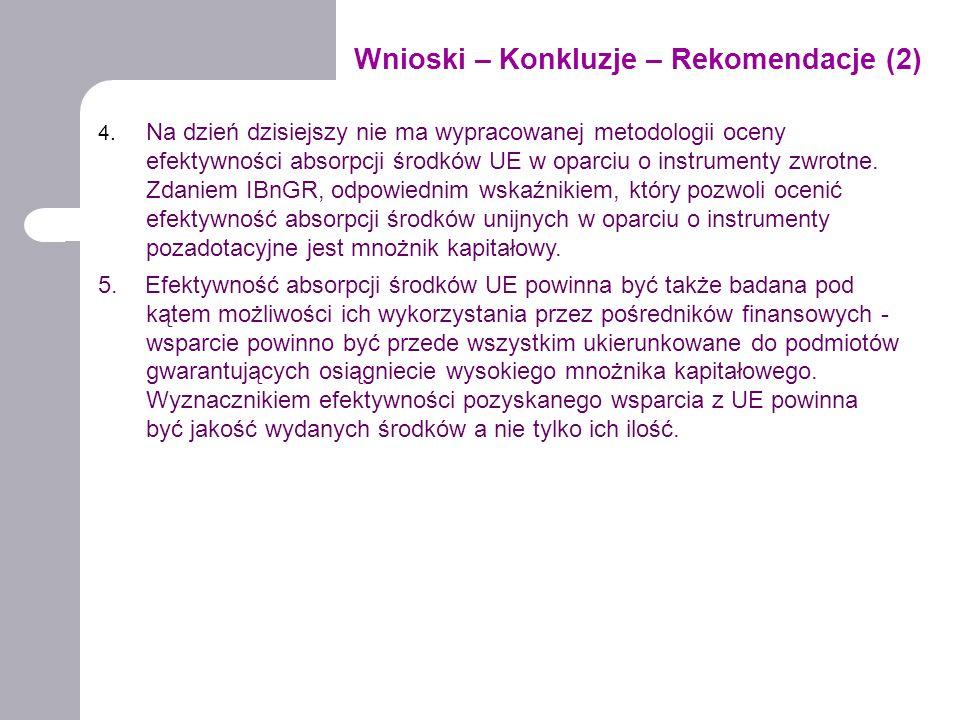 Wnioski – Konkluzje – Rekomendacje (2) 4. Na dzień dzisiejszy nie ma wypracowanej metodologii oceny efektywności absorpcji środków UE w oparciu o inst