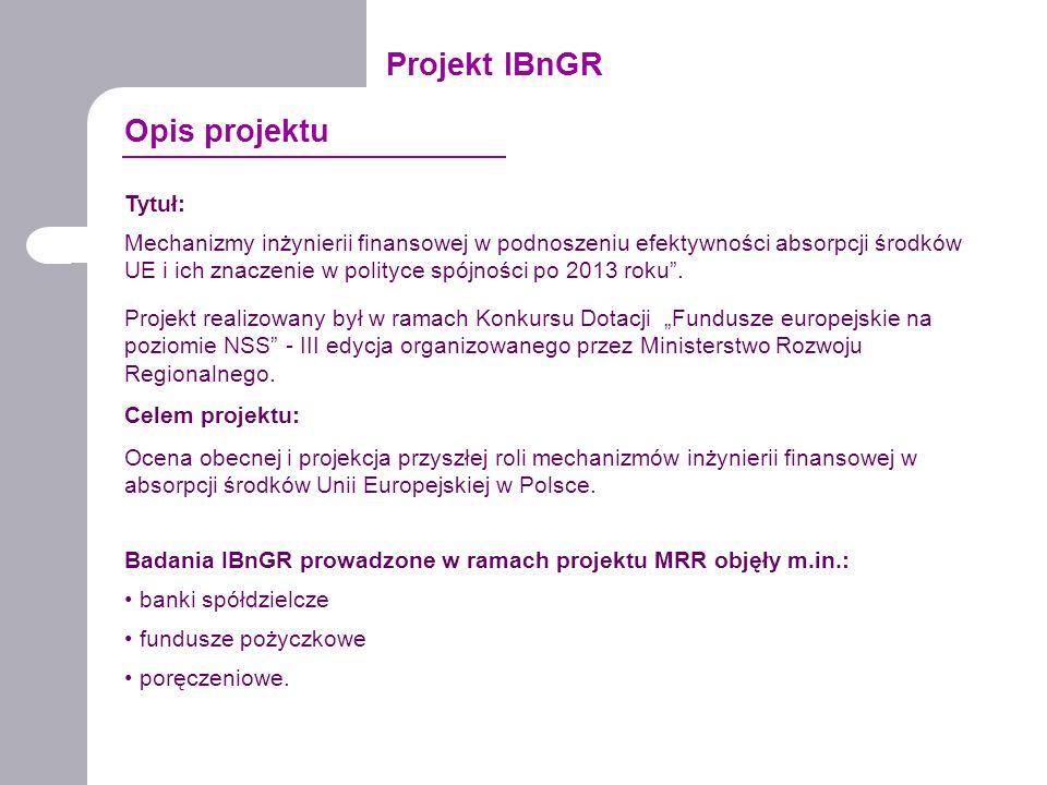 Projekt IBnGR Tytuł: Mechanizmy inżynierii finansowej w podnoszeniu efektywności absorpcji środków UE i ich znaczenie w polityce spójności po 2013 rok