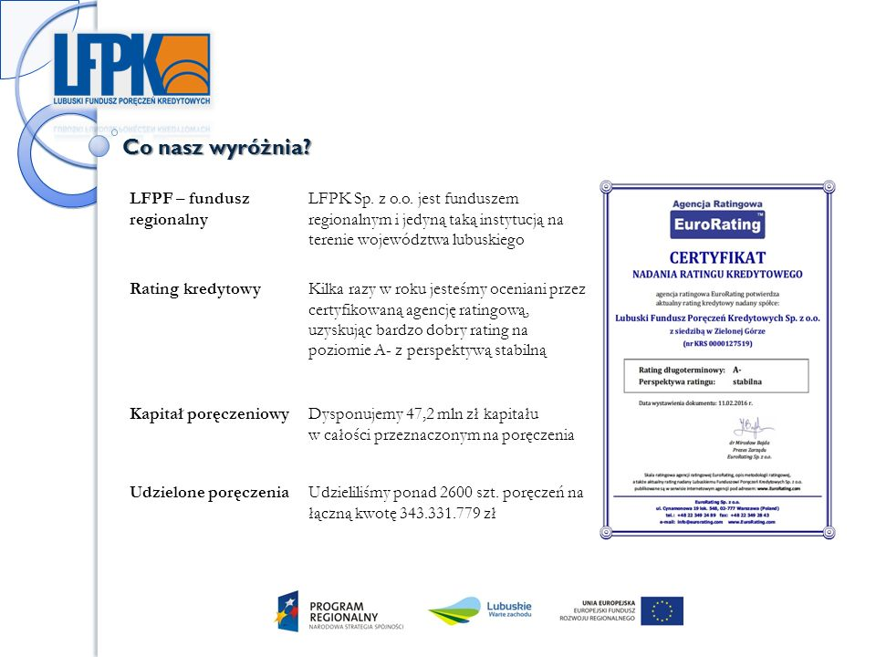 Co nasz wyróżnia. LFPF – fundusz regionalny LFPK Sp.