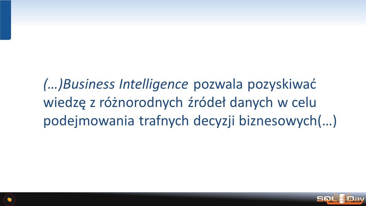 (…)Business Intelligence pozwala pozyskiwać wiedzę z różnorodnych źródeł danych w celu podejmowania trafnych decyzji biznesowych(…)