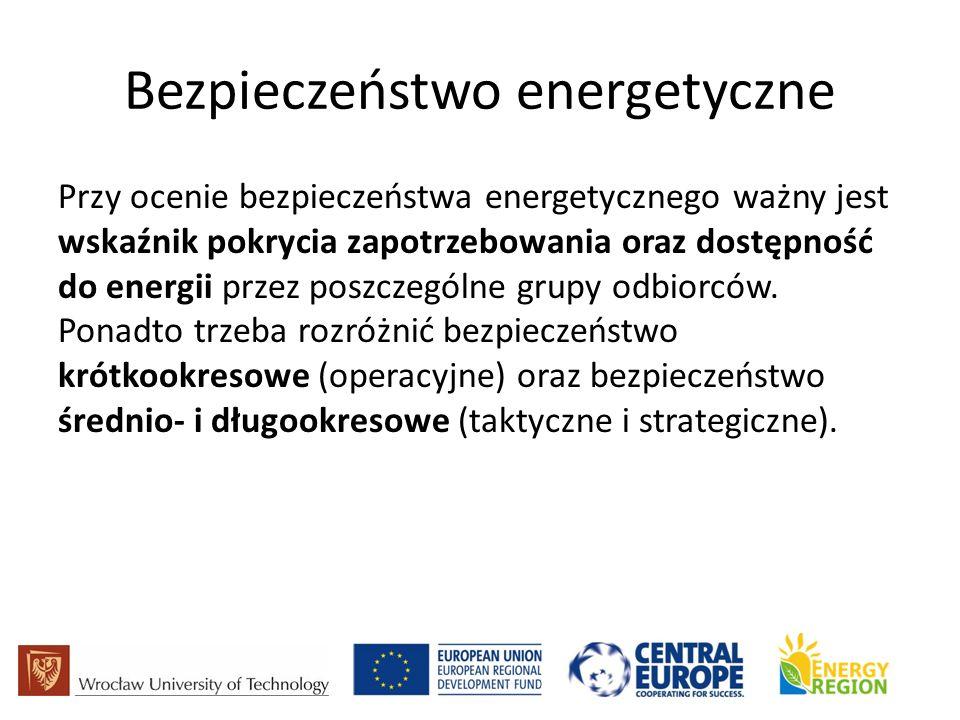 Bezpieczeństwo energetyczne Przy ocenie bezpieczeństwa energetycznego ważny jest wskaźnik pokrycia zapotrzebowania oraz dostępność do energii przez poszczególne grupy odbiorców.