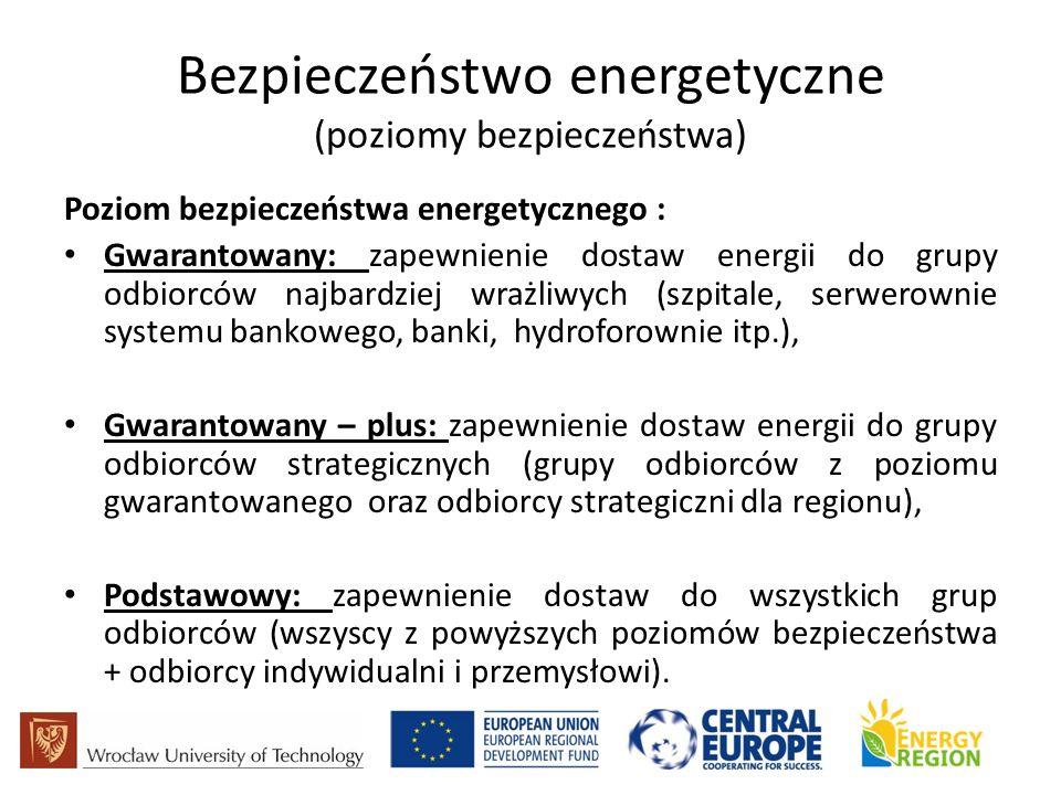 Bezpieczeństwo energetyczne (poziomy bezpieczeństwa) Poziom bezpieczeństwa energetycznego : Gwarantowany: zapewnienie dostaw energii do grupy odbiorców najbardziej wrażliwych (szpitale, serwerownie systemu bankowego, banki, hydroforownie itp.), Gwarantowany – plus: zapewnienie dostaw energii do grupy odbiorców strategicznych (grupy odbiorców z poziomu gwarantowanego oraz odbiorcy strategiczni dla regionu), Podstawowy: zapewnienie dostaw do wszystkich grup odbiorców (wszyscy z powyższych poziomów bezpieczeństwa + odbiorcy indywidualni i przemysłowi).
