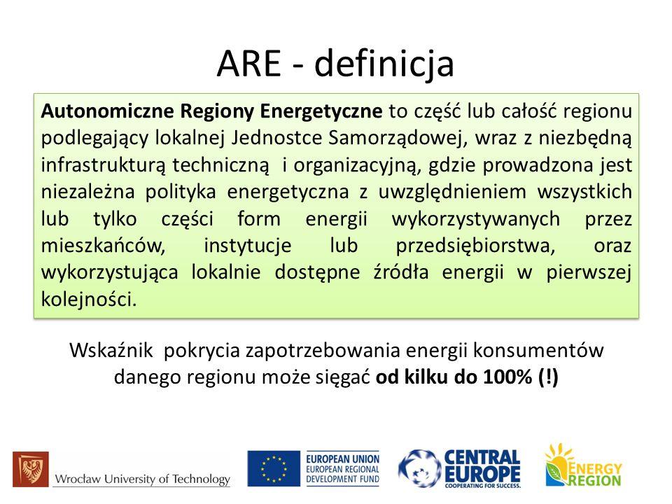 ARE - definicja Autonomiczne Regiony Energetyczne to część lub całość regionu podlegający lokalnej Jednostce Samorządowej, wraz z niezbędną infrastrukturą techniczną i organizacyjną, gdzie prowadzona jest niezależna polityka energetyczna z uwzględnieniem wszystkich lub tylko części form energii wykorzystywanych przez mieszkańców, instytucje lub przedsiębiorstwa, oraz wykorzystująca lokalnie dostępne źródła energii w pierwszej kolejności.