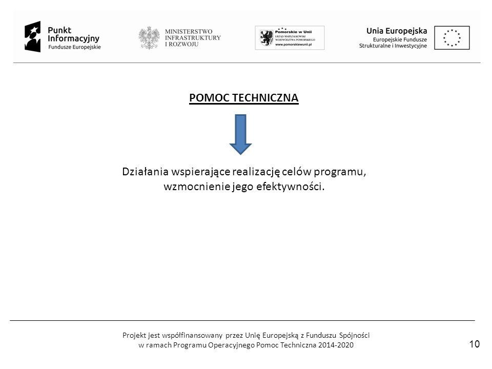 Projekt jest współfinansowany przez Unię Europejską z Funduszu Spójności w ramach Programu Operacyjnego Pomoc Techniczna 2014-2020 10 POMOC TECHNICZNA