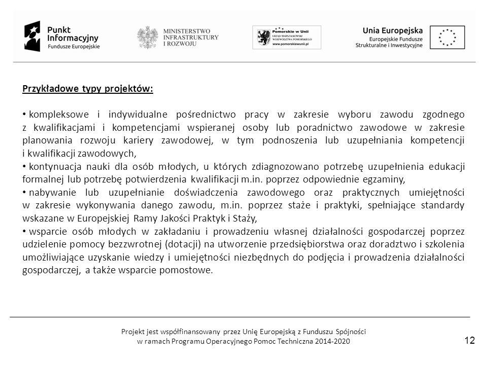 Projekt jest współfinansowany przez Unię Europejską z Funduszu Spójności w ramach Programu Operacyjnego Pomoc Techniczna 2014-2020 12 Przykładowe typy