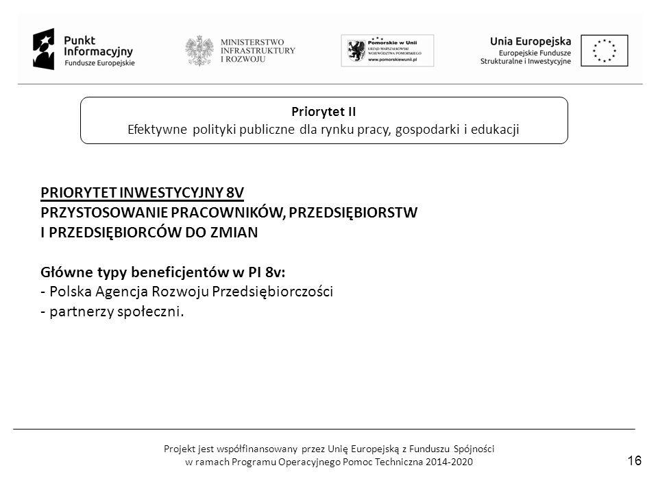 Projekt jest współfinansowany przez Unię Europejską z Funduszu Spójności w ramach Programu Operacyjnego Pomoc Techniczna 2014-2020 Priorytet II Efekty