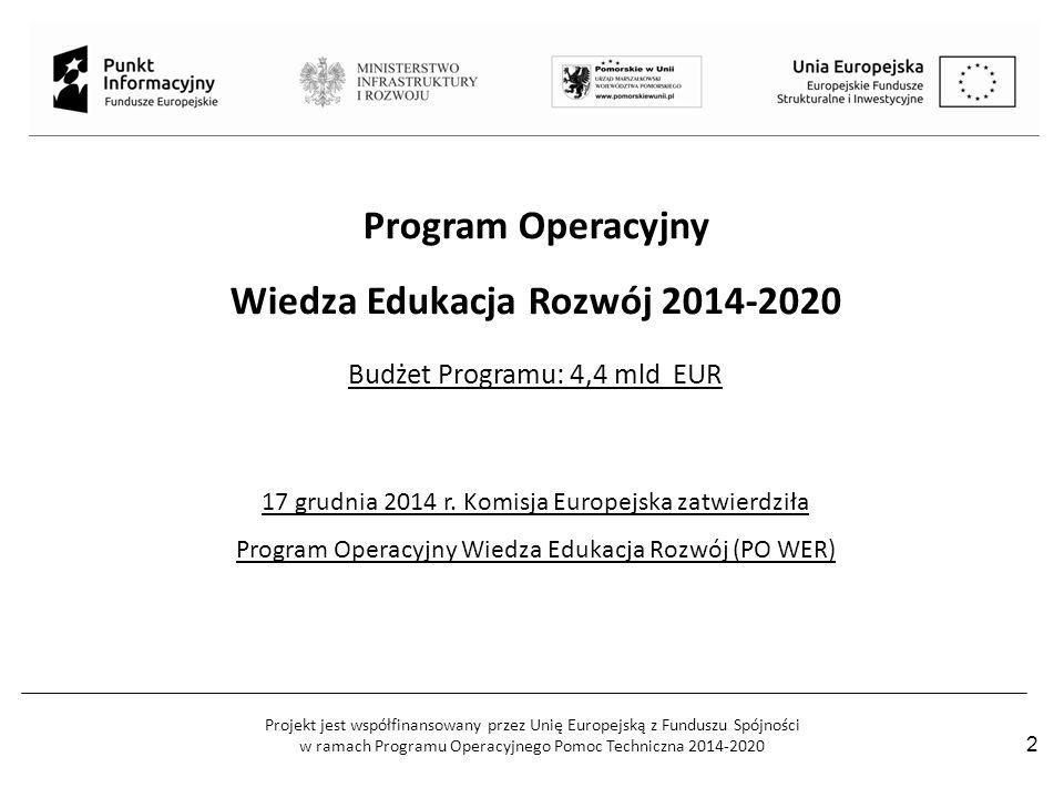 Projekt jest współfinansowany przez Unię Europejską z Funduszu Spójności w ramach Programu Operacyjnego Pomoc Techniczna 2014-2020 2 Program Operacyjn