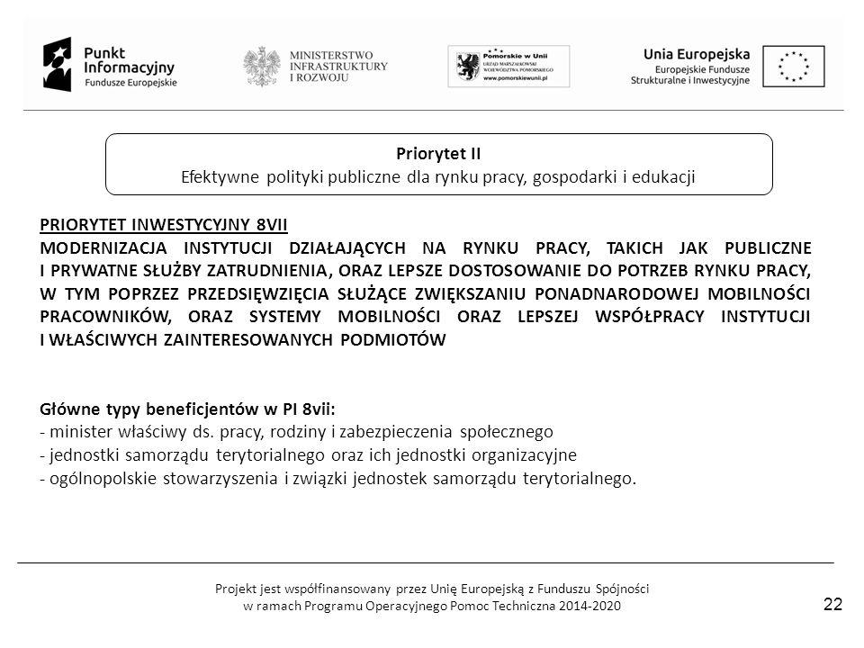 Projekt jest współfinansowany przez Unię Europejską z Funduszu Spójności w ramach Programu Operacyjnego Pomoc Techniczna 2014-2020 22 Priorytet II Efe