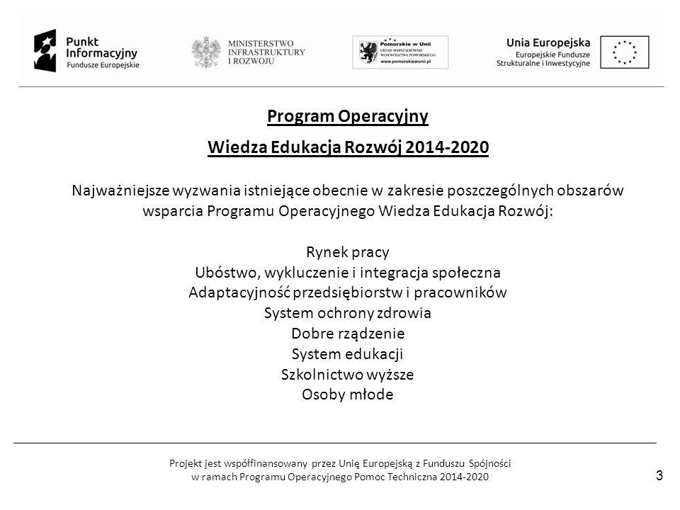Projekt jest współfinansowany przez Unię Europejską z Funduszu Spójności w ramach Programu Operacyjnego Pomoc Techniczna 2014-2020 Program Operacyjny