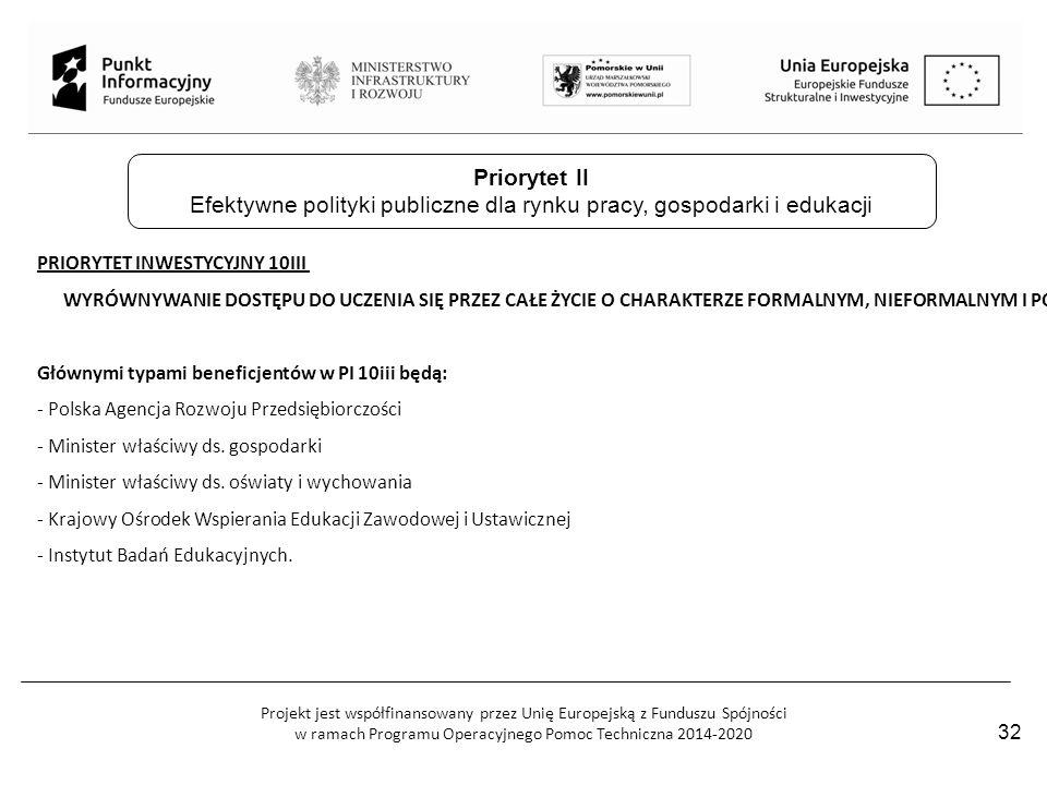 Projekt jest współfinansowany przez Unię Europejską z Funduszu Spójności w ramach Programu Operacyjnego Pomoc Techniczna 2014-2020 PRIORYTET INWESTYCY