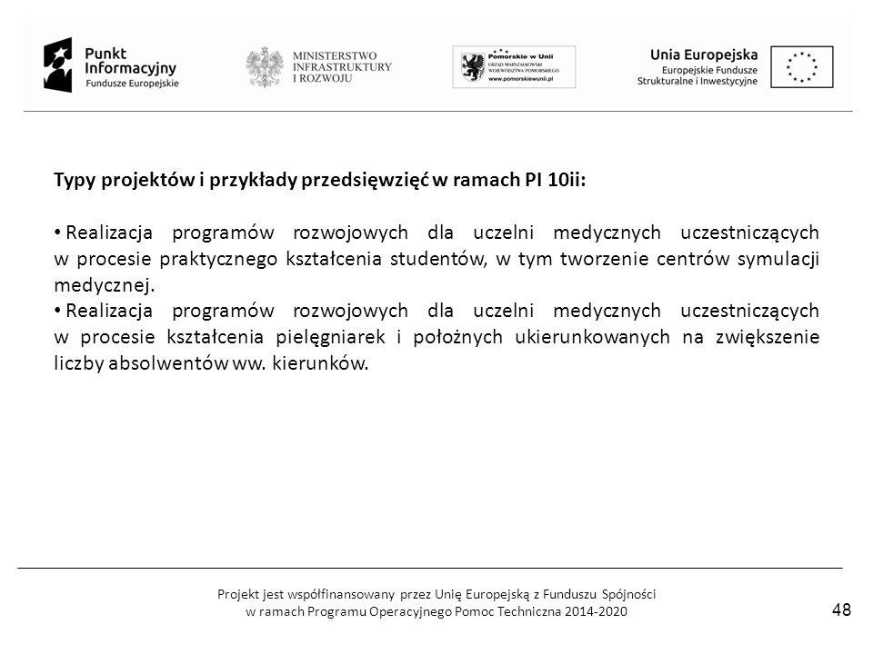 Projekt jest współfinansowany przez Unię Europejską z Funduszu Spójności w ramach Programu Operacyjnego Pomoc Techniczna 2014-2020 Typy projektów i pr
