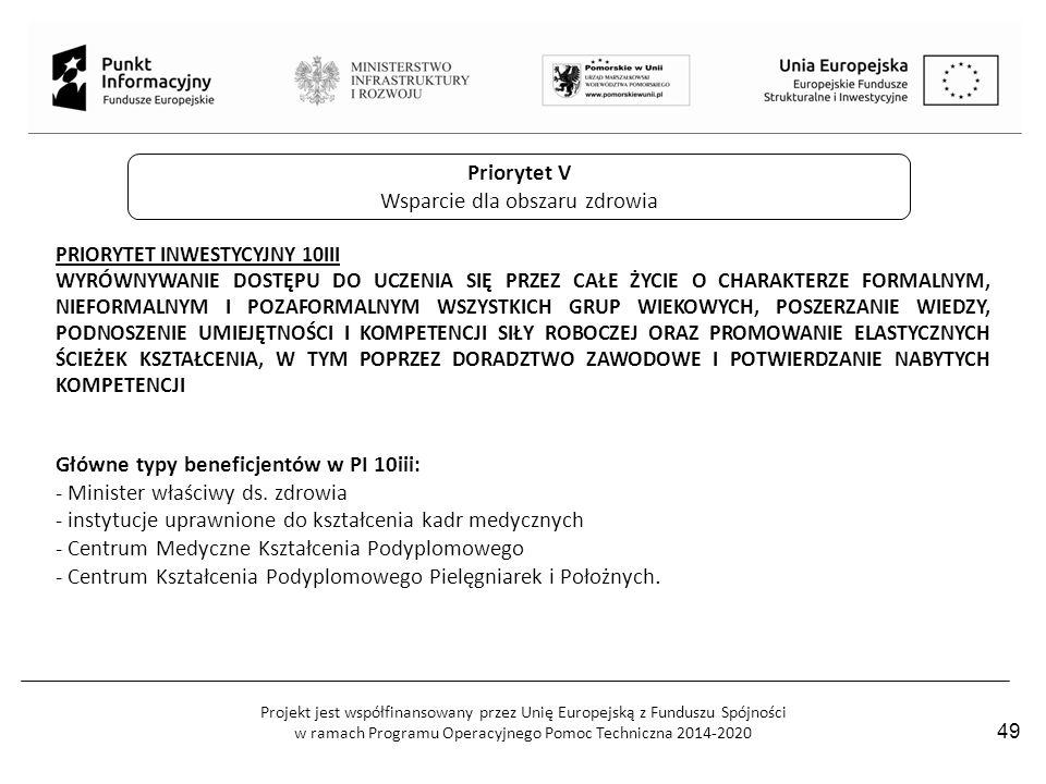 Projekt jest współfinansowany przez Unię Europejską z Funduszu Spójności w ramach Programu Operacyjnego Pomoc Techniczna 2014-2020 Priorytet V Wsparci