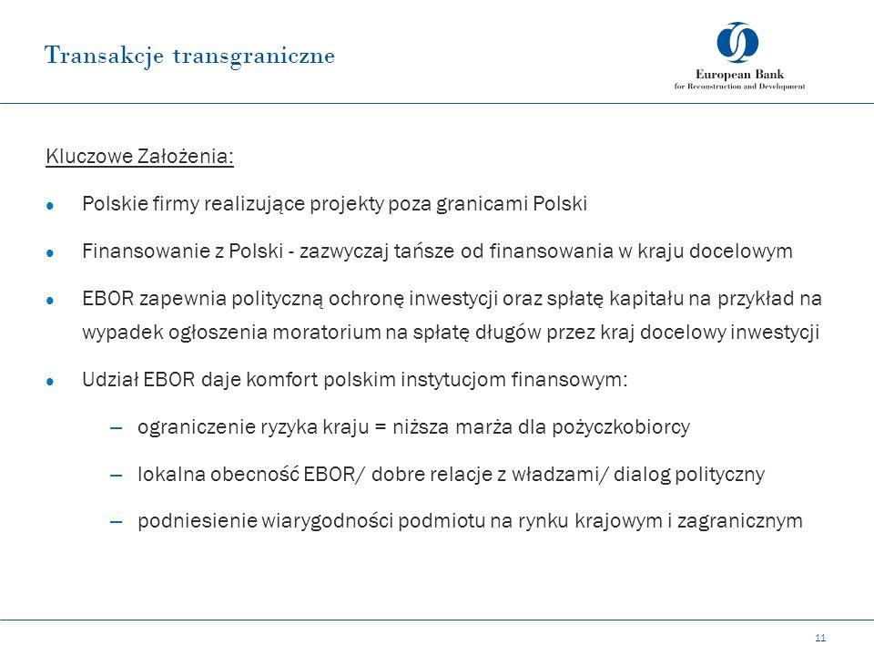 Transakcje transgraniczne 11 Kluczowe Założenia: Polskie firmy realizujące projekty poza granicami Polski Finansowanie z Polski - zazwyczaj tańsze od finansowania w kraju docelowym EBOR zapewnia polityczną ochronę inwestycji oraz spłatę kapitału na przykład na wypadek ogłoszenia moratorium na spłatę długów przez kraj docelowy inwestycji Udział EBOR daje komfort polskim instytucjom finansowym: – ograniczenie ryzyka kraju = niższa marża dla pożyczkobiorcy – lokalna obecność EBOR/ dobre relacje z władzami/ dialog polityczny – podniesienie wiarygodności podmiotu na rynku krajowym i zagranicznym