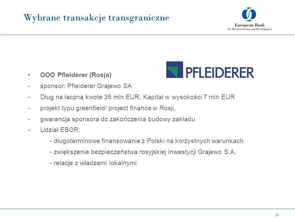 Wybrane transakcje transgraniczne 13 OOO Pfleiderer (Rosja) -sponsor: Pfleiderer Grajewo SA -Dług na łaczną kwote 35 mln EUR, Kapitał w wysokości 7 mln EUR -projekt typu greenfield/ project finance w Rosji, -gwarancja sponsora do zakończenia budowy zakładu -Udział EBOR: - długoterminowe finansowanie z Polski na korzystnych warunkach - zwiększenie bezpieczeństwa rosyjskiej inwestycji Grajewo S.A.