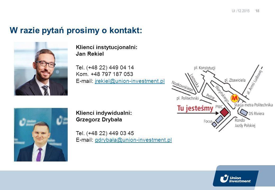 Klienci instytucjonalni: Jan Rekiel Tel. (+48 22) 449 04 14 Kom.