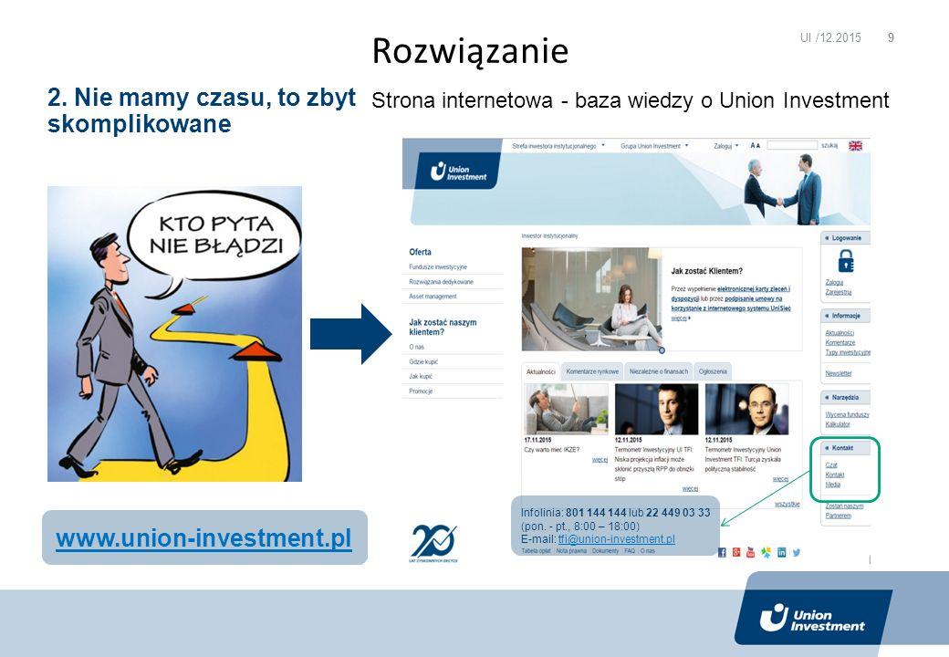 Rozwiązanie Strona internetowa - baza wiedzy o Union Investment UI /12.2015 www.union-investment.pl Infolinia: 801 144 144 lub 22 449 03 33 (pon.