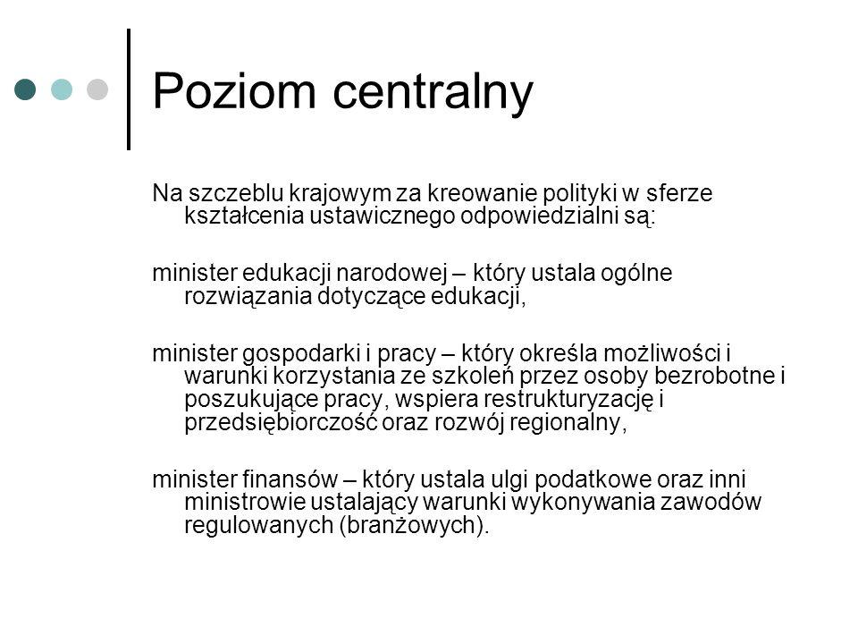Poziom centralny Na szczeblu krajowym za kreowanie polityki w sferze kształcenia ustawicznego odpowiedzialni są: minister edukacji narodowej – który u