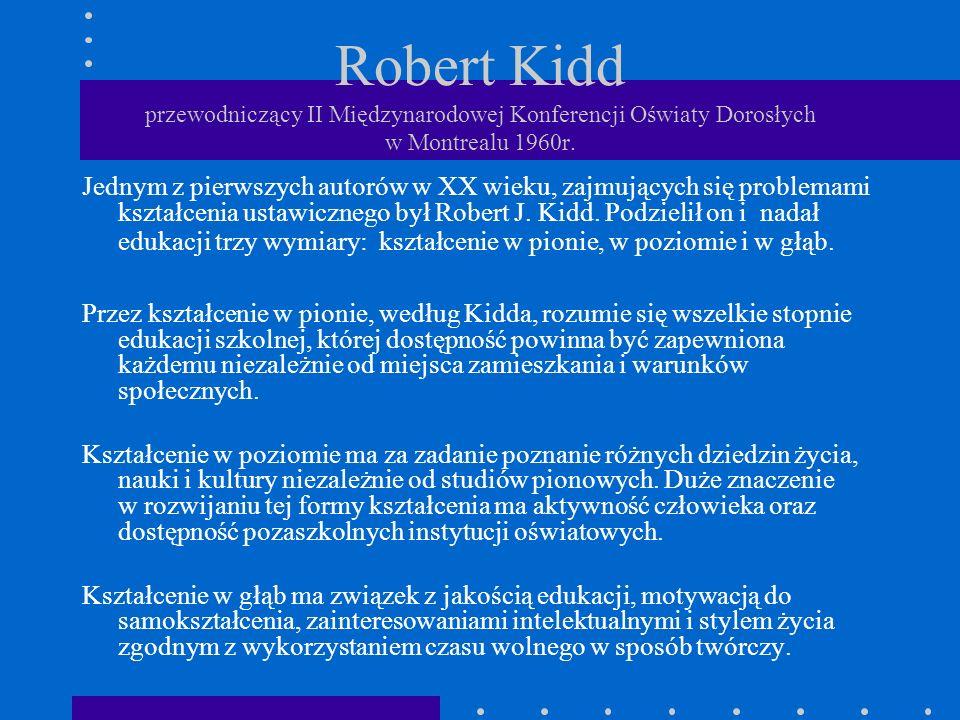 Robert Kidd przewodniczący II Międzynarodowej Konferencji Oświaty Dorosłych w Montrealu 1960r. Jednym z pierwszych autorów w XX wieku, zajmujących się