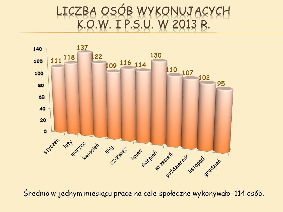Średnio w jednym miesiącu prace na cele społeczne wykonywało 114 osób.