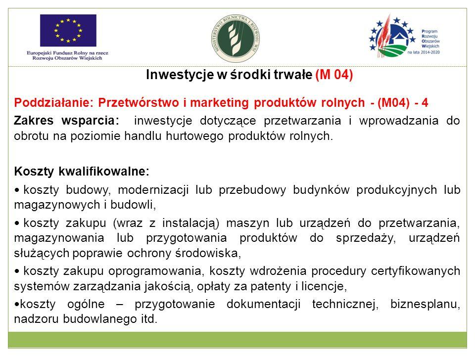 Poddziałanie: Przetwórstwo i marketing produktów rolnych - (M04) - 4 Zakres wsparcia: inwestycje dotyczące przetwarzania i wprowadzania do obrotu na p