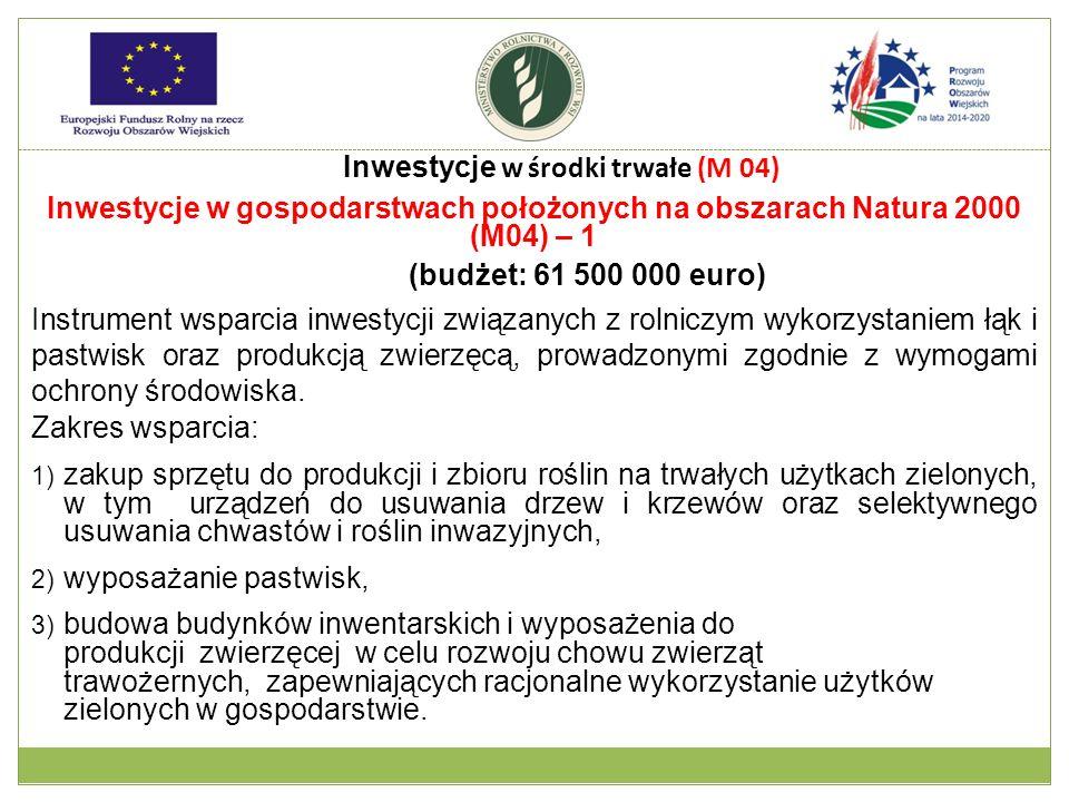 Inwestycje w gospodarstwach położonych na obszarach Natura 2000 (M04) – 1 (budżet: 61 500 000 euro) Instrument wsparcia inwestycji związanych z rolnic