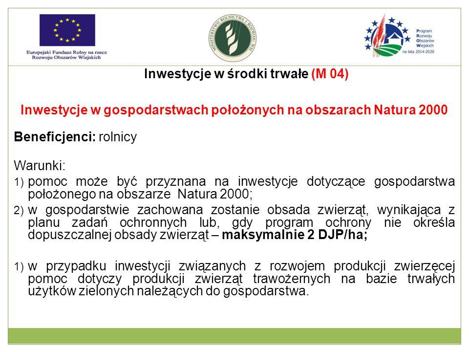 Inwestycje w gospodarstwach położonych na obszarach Natura 2000 Beneficjenci: rolnicy Warunki: 1) pomoc może być przyznana na inwestycje dotyczące gos