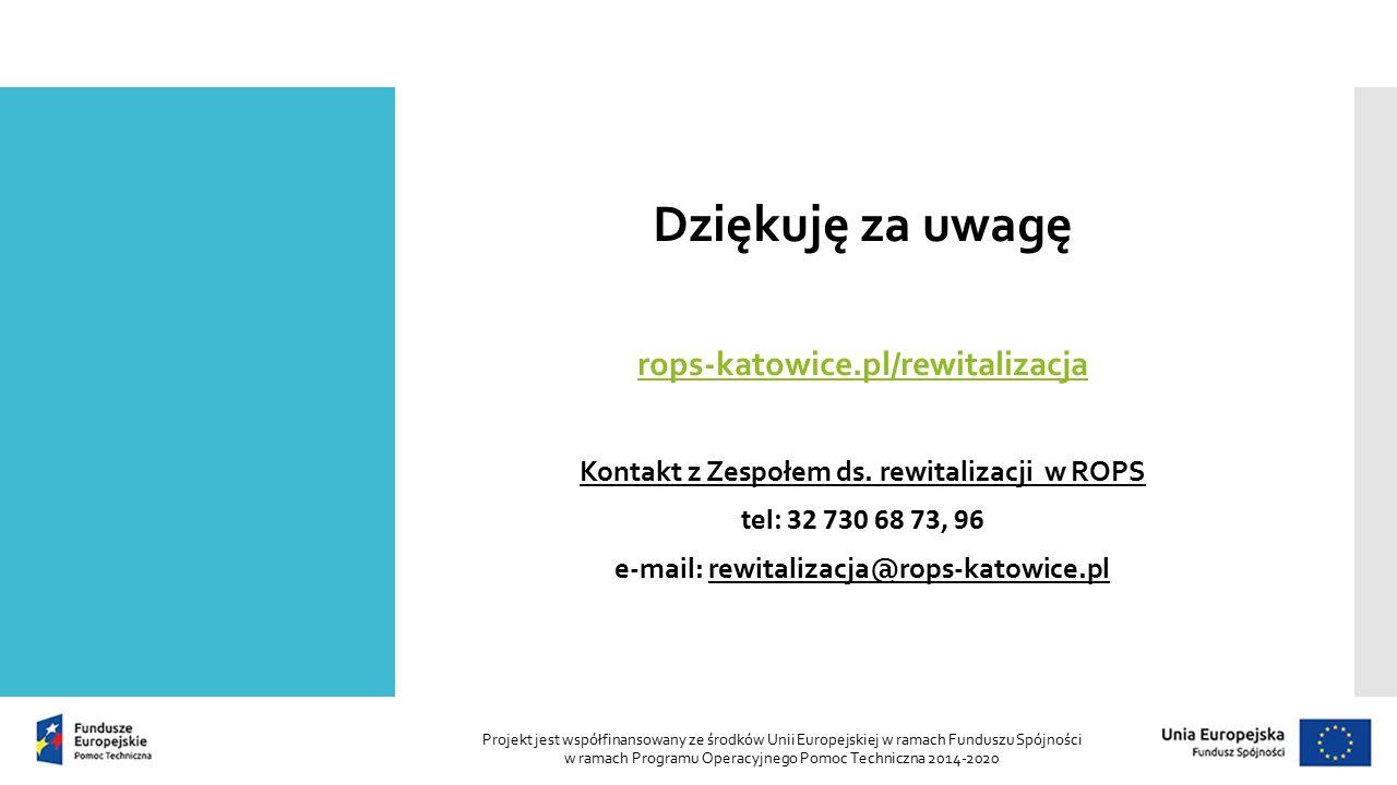 Dziękuję za uwagę rops-katowice.pl/rewitalizacja Kontakt z Zespołem ds.