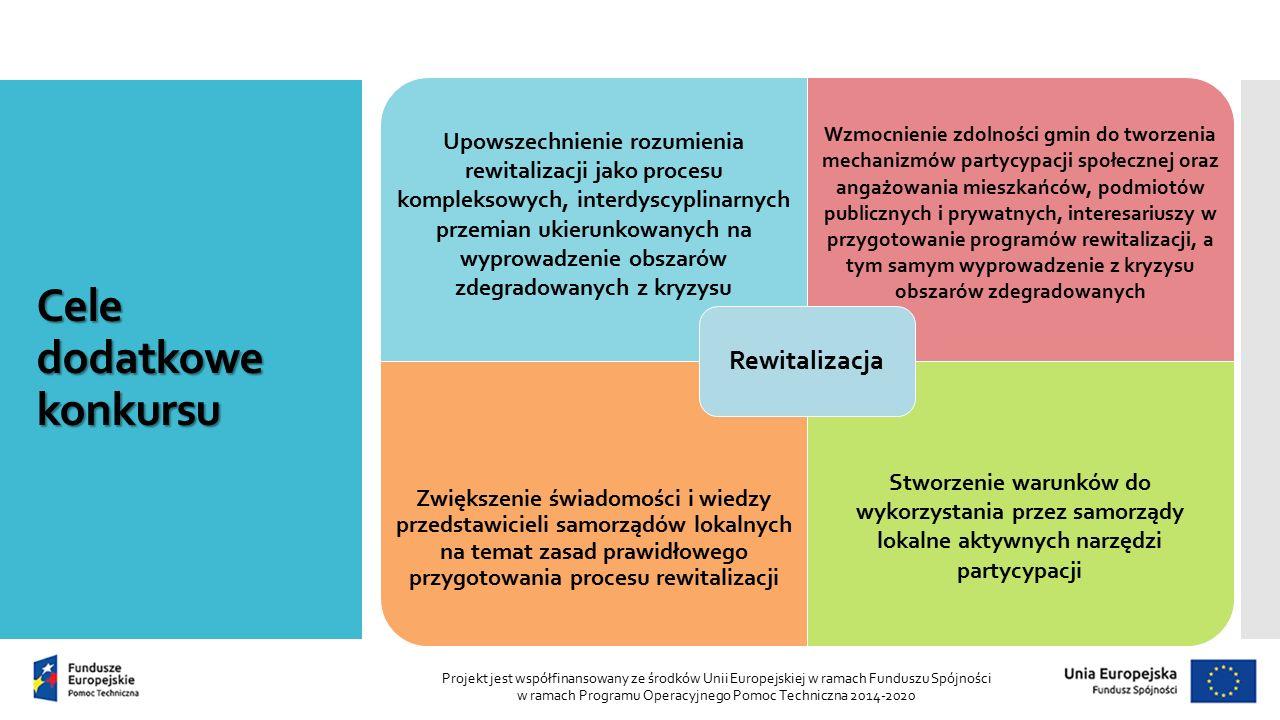 Cele dodatkowe konkursu Projekt jest współfinansowany ze środków Unii Europejskiej w ramach Funduszu Spójności w ramach Programu Operacyjnego Pomoc Techniczna 2014-2020 Upowszechnienie rozumienia rewitalizacji jako procesu kompleksowych, interdyscyplinarnych przemian ukierunkowanych na wyprowadzenie obszarów zdegradowanych z kryzysu Wzmocnienie zdolności gmin do tworzenia mechanizmów partycypacji społecznej oraz angażowania mieszkańców, podmiotów publicznych i prywatnych, interesariuszy w przygotowanie programów rewitalizacji, a tym samym wyprowadzenie z kryzysu obszarów zdegradowanych Zwiększenie świadomości i wiedzy przedstawicieli samorządów lokalnych na temat zasad prawidłowego przygotowania procesu rewitalizacji Stworzenie warunków do wykorzystania przez samorządy lokalne aktywnych narzędzi partycypacji Rewitalizacja