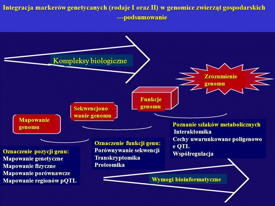 Mapowanie genomu Sekwencjono- wanie genomu Funkcje genomu Zrozumienie genomu Kompleksy biologiczne Wymogi bioinformatyczne Oznaczenie pozycji genu: Ma