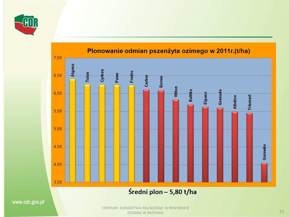CENTRUM DORADZTWA ROLNICZEGO W BRWINOWIE ODDZIAŁ W RADOMIU 11 Średni plon – 5,80 t/ha