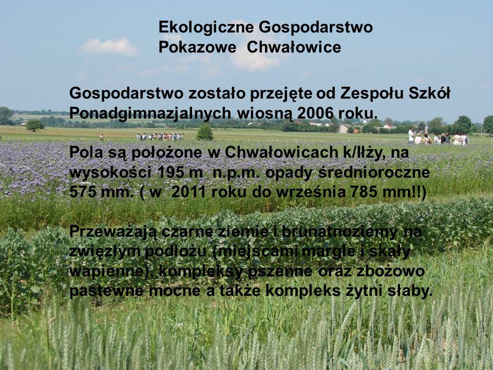 Ekologiczne Gospodarstwo Pokazowe Chwałowice Gospodarstwo zostało przejęte od Zespołu Szkół Ponadgimnazjalnych wiosną 2006 roku. Pola są położone w Ch