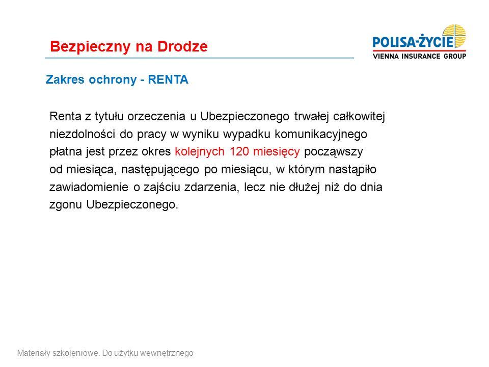 Zakres ochrony - RENTA Renta z tytułu orzeczenia u Ubezpieczonego trwałej całkowitej niezdolności do pracy w wyniku wypadku komunikacyjnego płatna jes