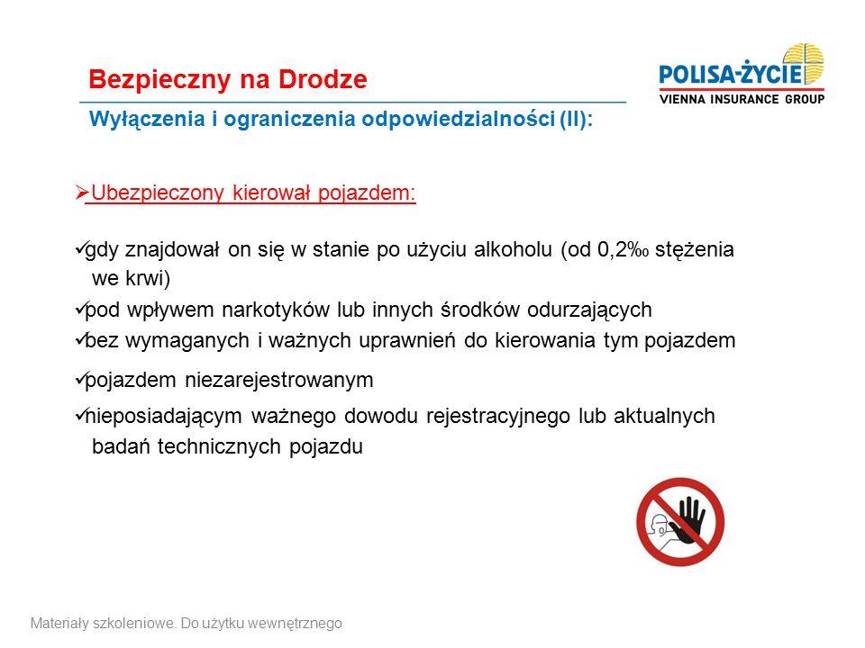 Wyłączenia i ograniczenia odpowiedzialności (II):  Ubezpieczony kierował pojazdem: gdy znajdował on się w stanie po użyciu alkoholu (od 0,2‰ stężenia