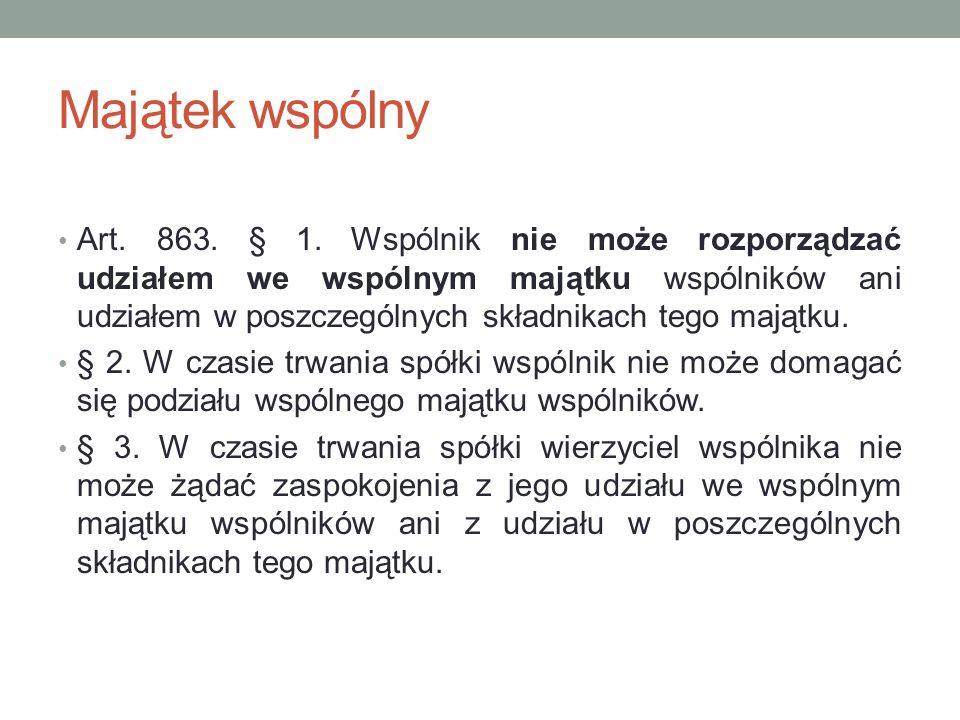 Rozwiązanie spółki Art.875. § 1.